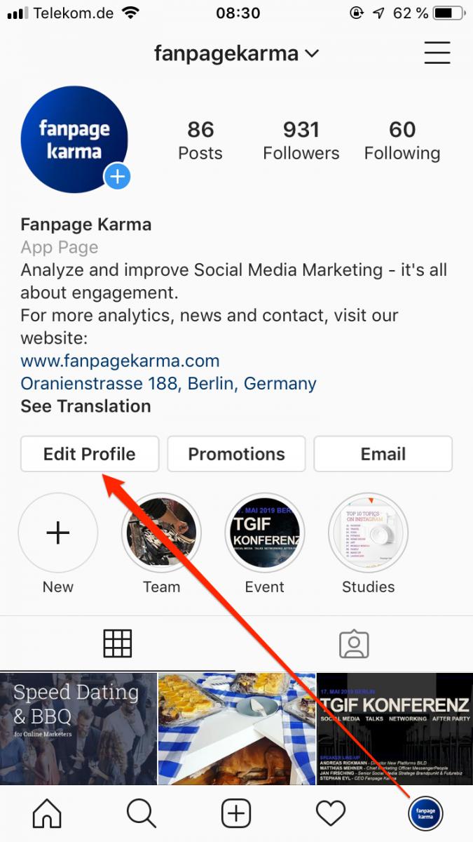Instagram Business Profil korrekt verknüpfen, 3. & 4.