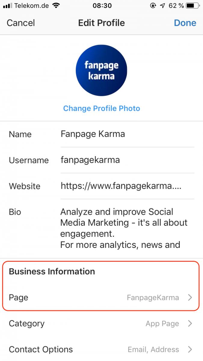 Instagram Business Profil korrekt verknüpfen, 5.